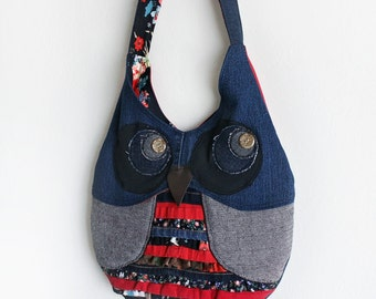 Owl Purse Shoulder Bag Upcycled Denim with Ruffles Handmade Unique Gift for Owl Lovers