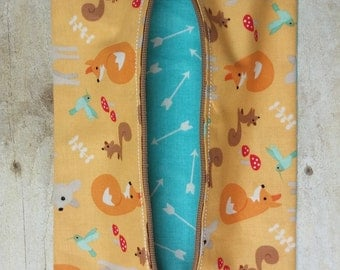 Woodland Animals Diaper Wipes Case, Zipper Wipes Case, Soft Wipes Case, Diaper Bag Accessory, Wipes Holder, Make-up Bag *Ready to Ship*