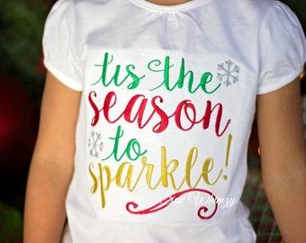 Christmas shirt or bodysuit- Girls Christmas shirt- tis the season to sparkle shirt