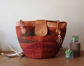 Sisal Southwestern Woven Textile Market Bag with Leather Straps