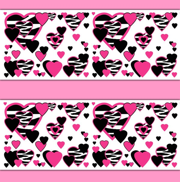 Zebra print decal wall art hot pink heart wallpaper border - Exciting image of home decoration using pink zebra wallpaper ...
