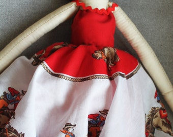 NEW! Cadence Cowgirl Ragdoll: Handmade from Vintage and Recycled Materials,Cloth Doll, Western, Country Girl, Cowboy, Farm Girl