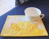 Yellow Sunshine Mug Rug, Snack Mat, Large Coaster Gift for Her USA
