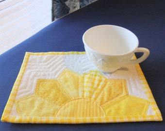 Yellow Sunshine Mug Rug, You Are My Sunshine Snack Mat, Large Coaster Gift for Her, Friendship Gift, Made in USA