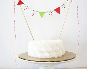 """Christmas Cake Topper - Fabric Cake Bunting - Holiday, Wedding, Birthday Party, Shower Decoration """"Jingle Bells"""" red pine green dots winter"""