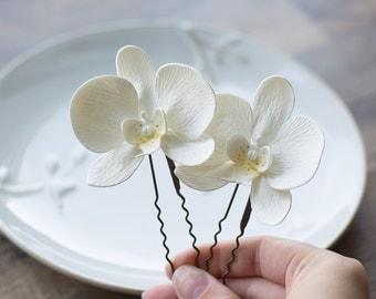 White flower hair pin - orchid hair pin - white wedding hair accessories - white hair pin - bridal hair flower