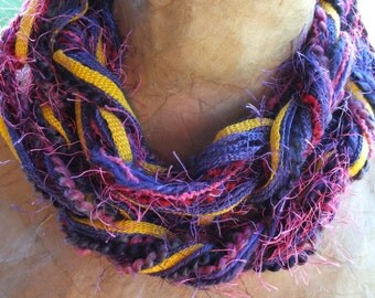 Sports Scarf, Team Colors Vikings Northern Iowa Infinity Fiber Art Scarf Purple Gold Violet Yellow  Breast Cancer Awareness