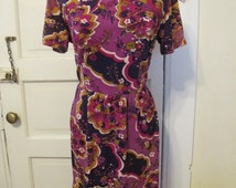 1960s Pucci-style Shift Dress with Mock Turtleneck sz M
