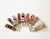 Printed Leather Keychain, Key fob, Key holder, Key Chain, Minimalistic, Geometric, keyholder