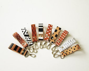 Printed Leather Keychain, Key fob, Key holder, Key Chain, Minimalistic, Geometric, keyholder