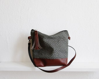 Gray dotted crossbody bag, Canvas and Faux Leather, Slouchy Messanger bag, Shoulder bag, Tassels