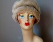 Faux Fur Hat / Vtg 60s / Turban style faux fur Hat / Beige Faux Fur Hat / Mod Glamour 1960s Faux Fur Hat / Faux Fur Winter Hat