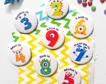 Personalised Monster Age Birthday Badge - Age Badge - Monster Birthday - Badge for Kids - Button Badge - Number Badge - Child Party Badge