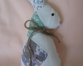 Vintage Quilt Fabric Bunny Rabbit Doll ~ Primitive Bunny Pillow Tuck