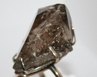 Smoky Quartz Crystal Ring, Size 8, FREE SHIPPING