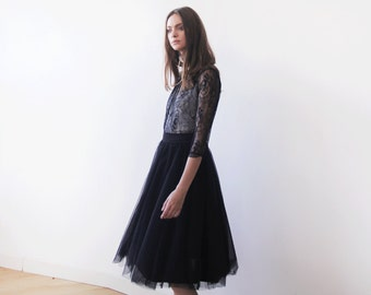 Black lace long sleeves top, Lace top, Sheer black lace blouse