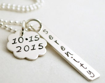 Serenity Custom Date Sobriety Jewelry Recovery Necklace Anniversary - Hand Stamped Sterling Silver