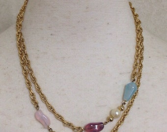 MINT. Vintage Givenchy, Paris, New York  gold tone chain long necklace with purple, orange, pink, and blue with 2 pearls. Double chain