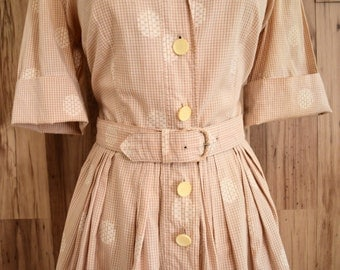 1950s Nelly Don tan and white plaid shirt dress with polka dots, fifties fit and flare dress, Nelly Don shirtwaist dress with belt