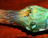 Glass Spoon Pipe with Encased Opal in Honeycombed Blue Caramel and Silver Creek - Handblown