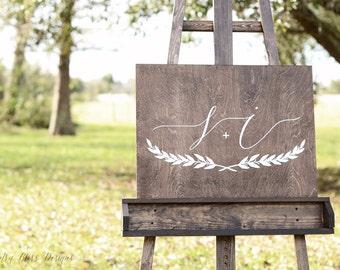 Wedding Initials sign, Wedding Monogram Sign, Wedding Name Sign, Established Sign, Guest Book Sign, Guest Book Alternatives, Guest Book Idea