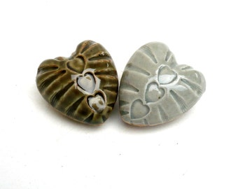 Porcelain Hearts  ,Fall Colors , Olive And Aqua , Ceramic Sculpture ,  Couples Gift ; Pair Of Hearts , Heart Pebbles