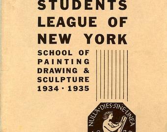 Art Students League, NY, 1934-1935 Vintage Illustrated Catalog: Benton, Kuniyoshi, Kroll, Grosz, Curry, Zorach, Sternberg+