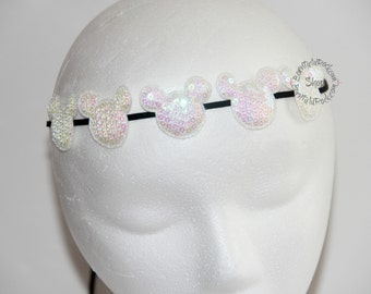 White Minnie Halo // Iridescent Sparkle Minnie Mouse Halo // Mickey Halo // by Born Tutu Rock