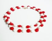 Red and White Bead Necklace, Long Beaded Vintage Costume Jewelry, Bright Red Gold, Round Flat Plastic Beads