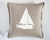 Accent pillow with white boat print - cushion cover hand painted - marinistic style pillow cover - beach home decor - beach pillow  0372
