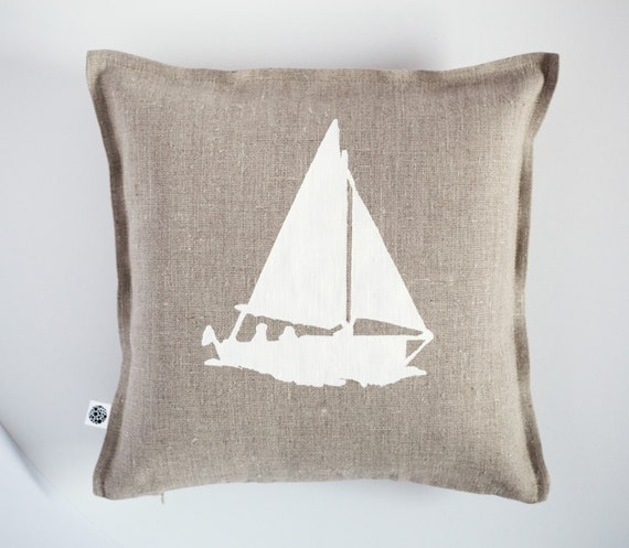 Throw pillow with white boat print - pillow cover hand painted - marinistic style linen pillow cover - beach home decor - beach pillow  0372