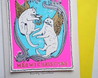Meowy Christmas - cherub cat stamp card