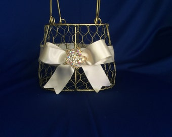 gold  flower girl basket purse with ivory ribbon and brooch purse basket for junior bridesmaid