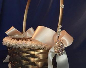 gold flower girl basket in ivory with satin bows destination wedding basket