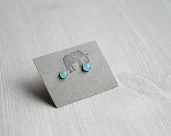 Aventurine Stud Earrings, Surgical Steel Stud Earrings, Stainless Steel, Tiny Studs, Minimal Studs, Green Studs, Mint Green Studs, 4mm