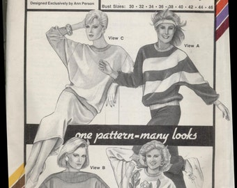 Stretch & Sew Pattern--Designer Sweatshirts--Bust Sizes 30/32/34/36/38/40/42/44/46