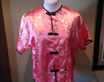 Vintage 1950s Pink Cheongsam Style Top - L