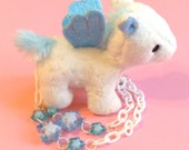 Pastel Blue and White Magical Pegaus Pluch Necklace