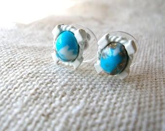 Turquoise Matrix Earrings - Small Post Earrings - White Earrings - Small White Post Earrings