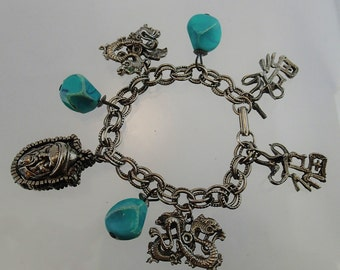 FREE Shipping Vintage HAR Charm Bracelet Asian Theme Dragons Faux Turquoise