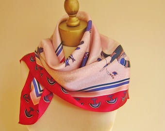 INUIT scarf, Canadian scarf, Canadian Arctic Scene, Skemo Canada, Canada souvenir , square scarves, vintage scarves