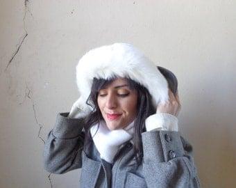 faux fur trim cap with scarf attached/ knit fur trim hat/ white fur trim cap