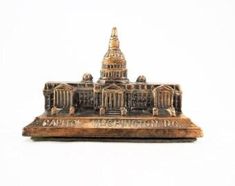 Vintage Capitol Building Souvenir, Washington DC Souvenir, Travel Memorabilia, Building Collector Gift, Metal Building Souvenir, US Capitol