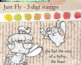 Just Fly - quirky fairy and flying cat with sentiment digi stamp set available for instant download.