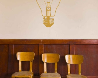 Lightbulb Decal - Vinyl Wall Art Decal Custom Stickers For Living Rooms, Teens Rooms, Offices, Bedrooms, Schools