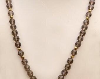 A wonderful dressy yet neutral brown Smokey Quartx stone necklace