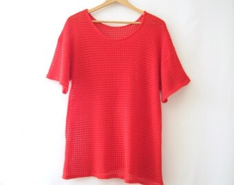 70s Red Mesh Tee Knit Boatneck T-Shirt Crochet See Through Beach Summer Grunge Boho // OSFM