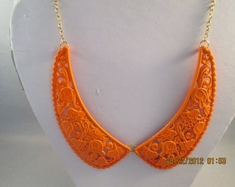 SALE Orange Collar Necklace on a Gold Tone Chain