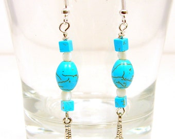 Eiffel Tower Earrings, Turquoise Earrings, France Earrings, Beach Jewelry, Mother of Pearl Jewelry, Beach Earrings