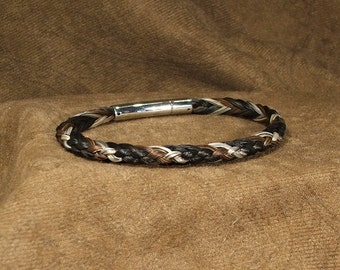 Men's or Women's Half-round Braid Braided 5mm Horsehair Bracelet with Silver or Gold-tone Stainless Steel Lever-back Push Clasp
